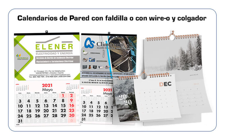 Tipos calendarios de pared
